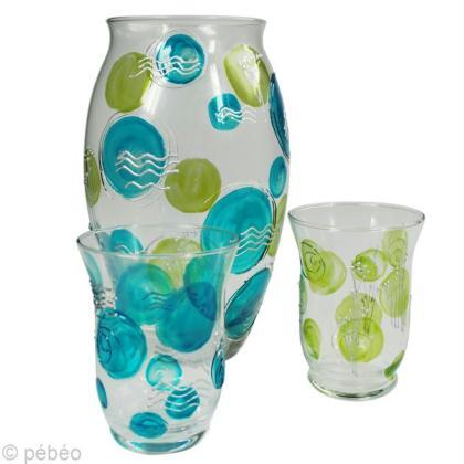 Peindre un vase en verre et ses photophores assortis - Peinture sur plateau en verre ...