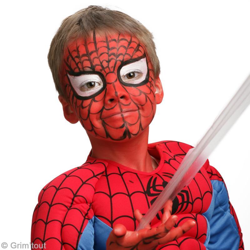 Maquillage spiderman sur visage d 39 enfant id es et conseils maquillage - Maquillage araignee facile ...
