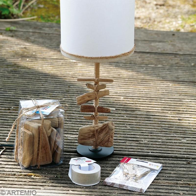 Lampe bois flotte tuto for Lampe de chevet bois flotte