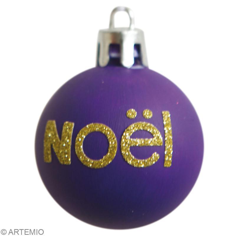 Boules de no l personnalis es avec feutrine et paillettes - Fabrication de boule de noel ...