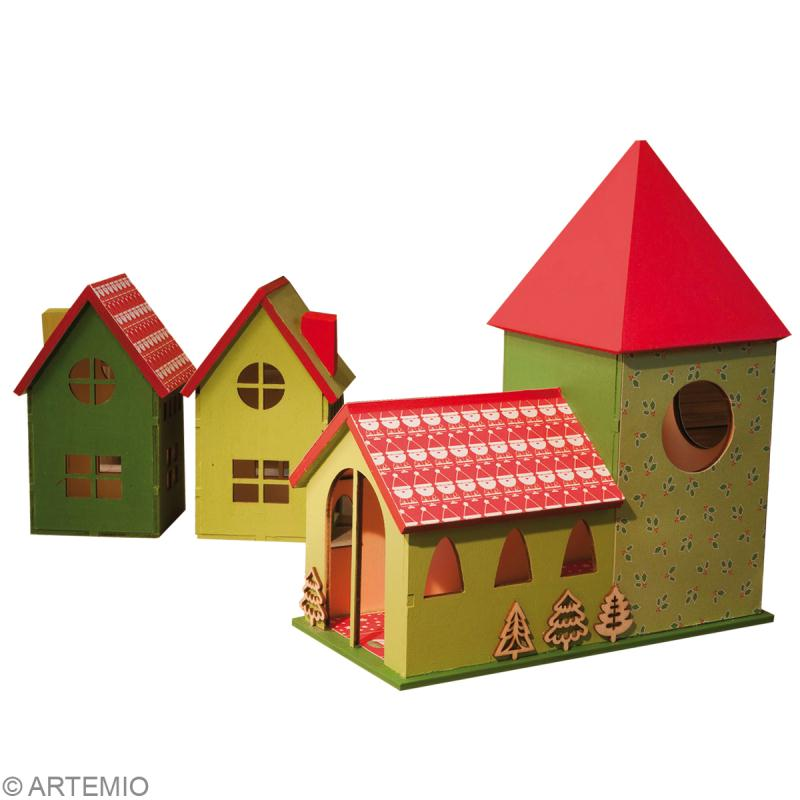 Fabriquer un village de no l miniature id es et conseils - Sapin en carton a fabriquer ...