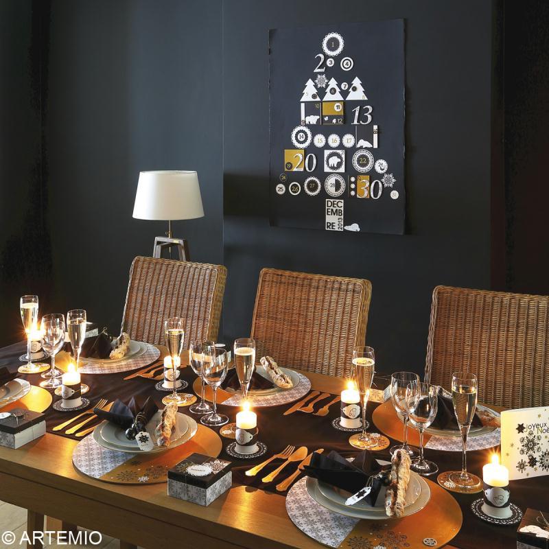 D coration de table no l diy en noir blanc et or for Decoration table noir et blanc