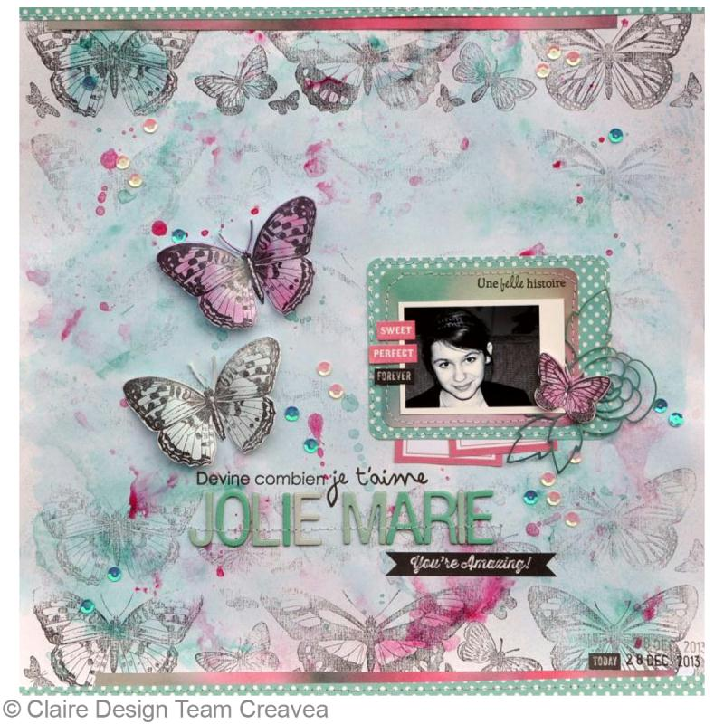 tuto page scrap papillon id es et conseils scrapbooking. Black Bedroom Furniture Sets. Home Design Ideas