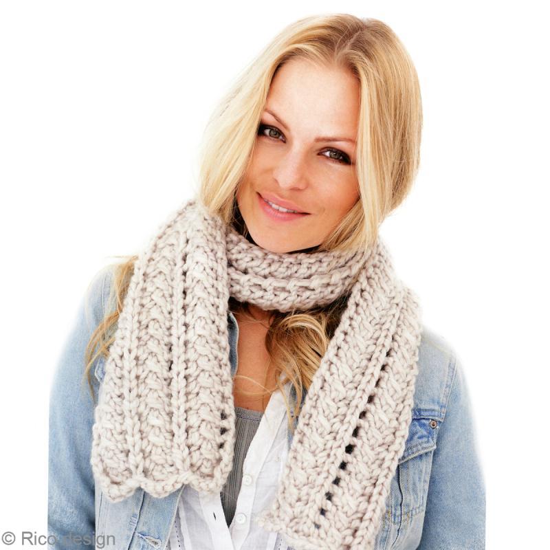 Tuto charpe en laine grosse maille echarpe femme - Tricoter une echarpe en laine ...