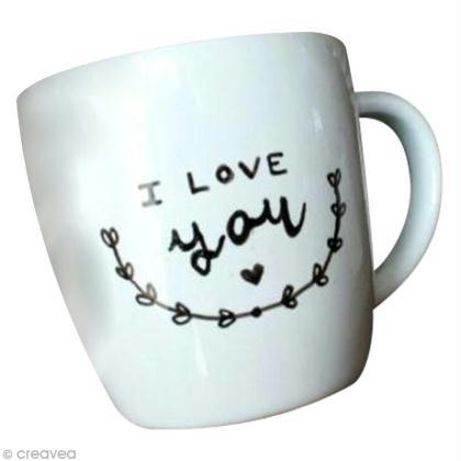 tuto personnaliser un mug avec de la peinture porcelaine. Black Bedroom Furniture Sets. Home Design Ideas