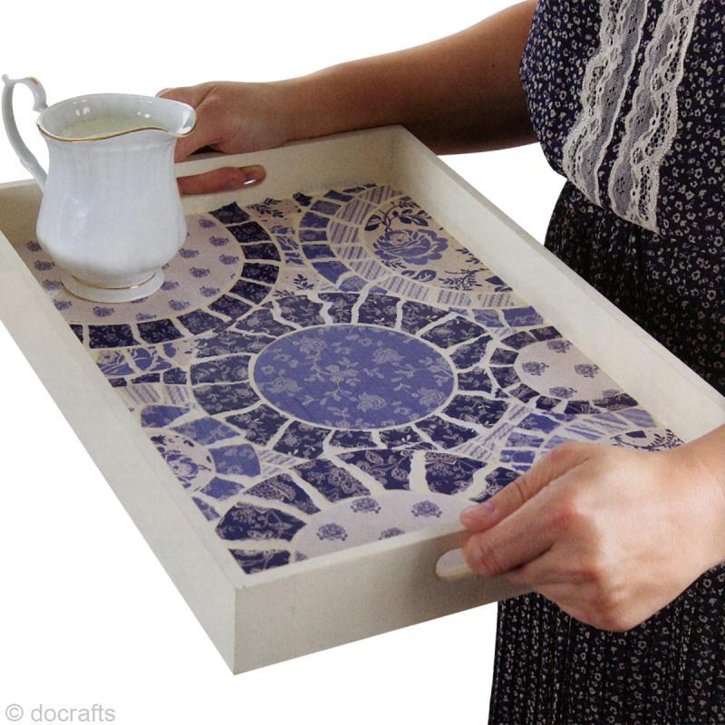 Tuto d coration d 39 un plateau th parisienne blue diy id es et conseils d coration - Modele de creation en mosaique ...