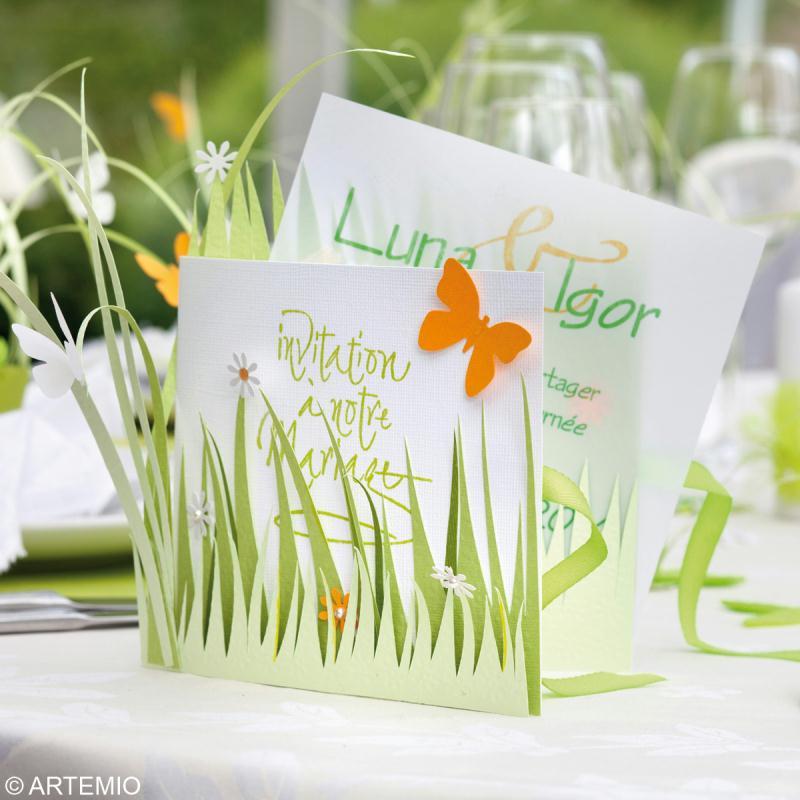 Déco mariage vert et blanc : Invitation, marque place et centre de ...