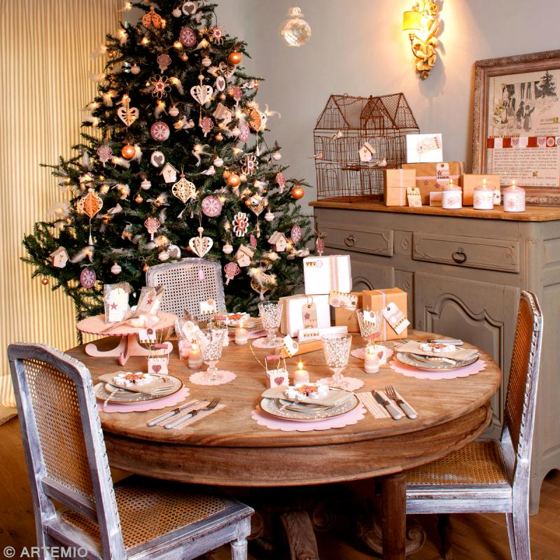 Tuto d co de table de no l style shabby chic id es et - Decoration de table de noel ...