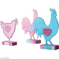 Bricolage poule et coq de Pâques brodés