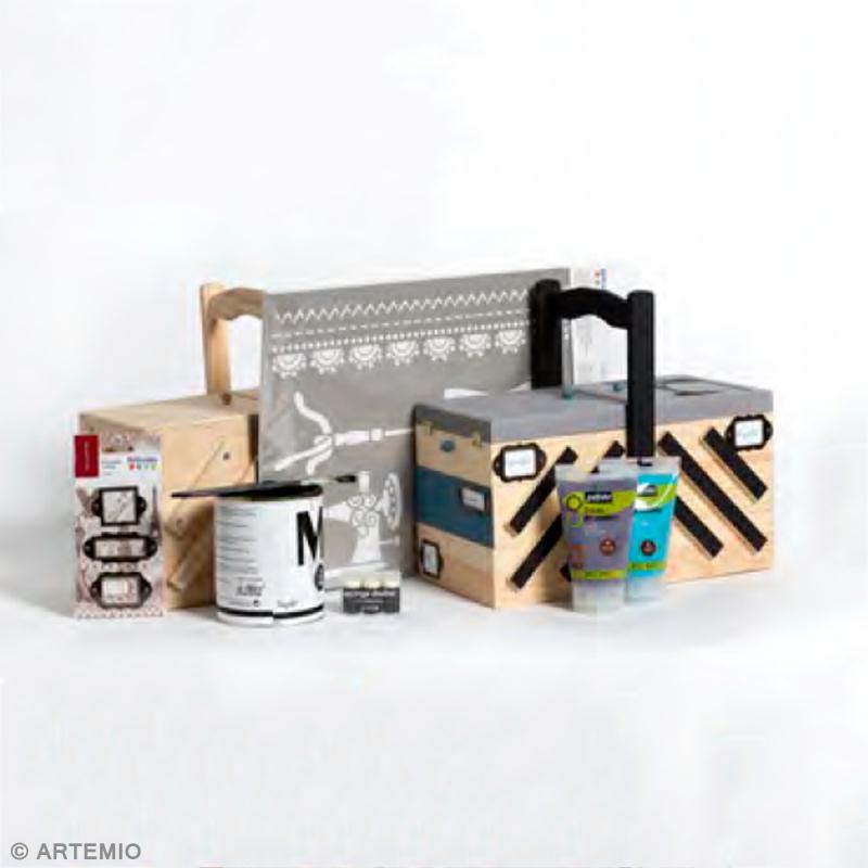 D coration d 39 une bo te couture en bois style vintage for Set de table liege