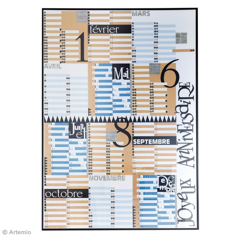 calendrier d 39 anniversaire facile faire id es et conseils home d co cadre tableau. Black Bedroom Furniture Sets. Home Design Ideas