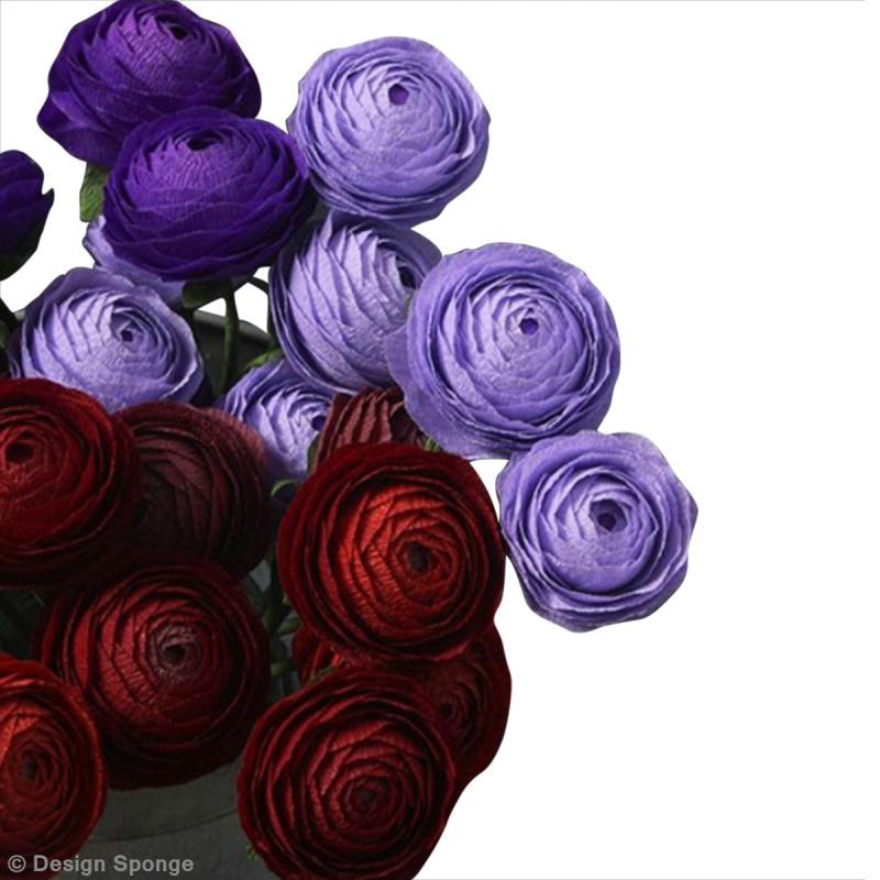 diy jolies fleurs renoncules en papier cr pon id es et conseils d coration. Black Bedroom Furniture Sets. Home Design Ideas