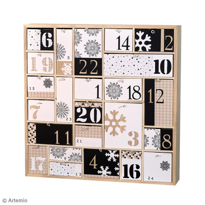 diy calendrier de l 39 avent graphique noir et blanc id es. Black Bedroom Furniture Sets. Home Design Ideas