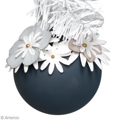 Diy no l boule paquerettes id es et conseils boules de no l - Fabrication de boule de noel en papier ...