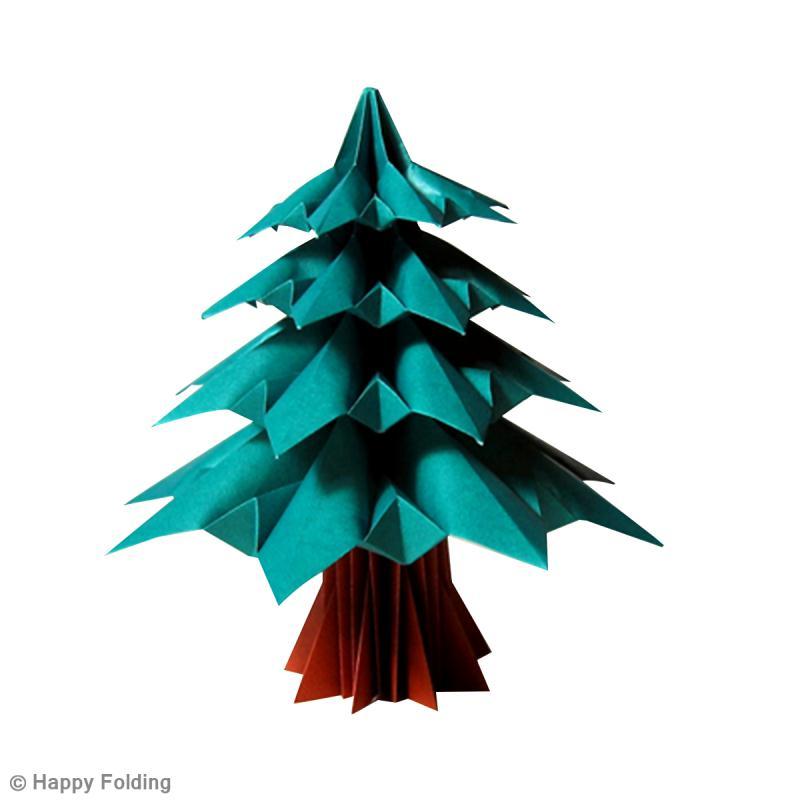 Diy origami sapin de no l vid o id es et conseils origami - Sapin en papier origami ...