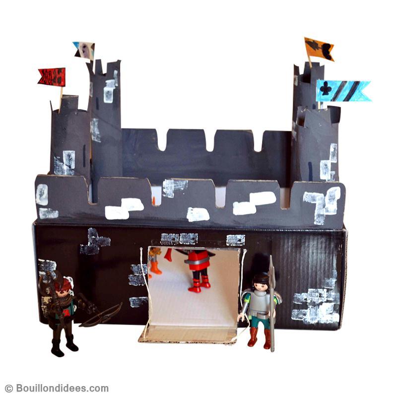 Bricolage enfant fabriquer un chateau fort en carton - Activite manuelle avec du papier ...