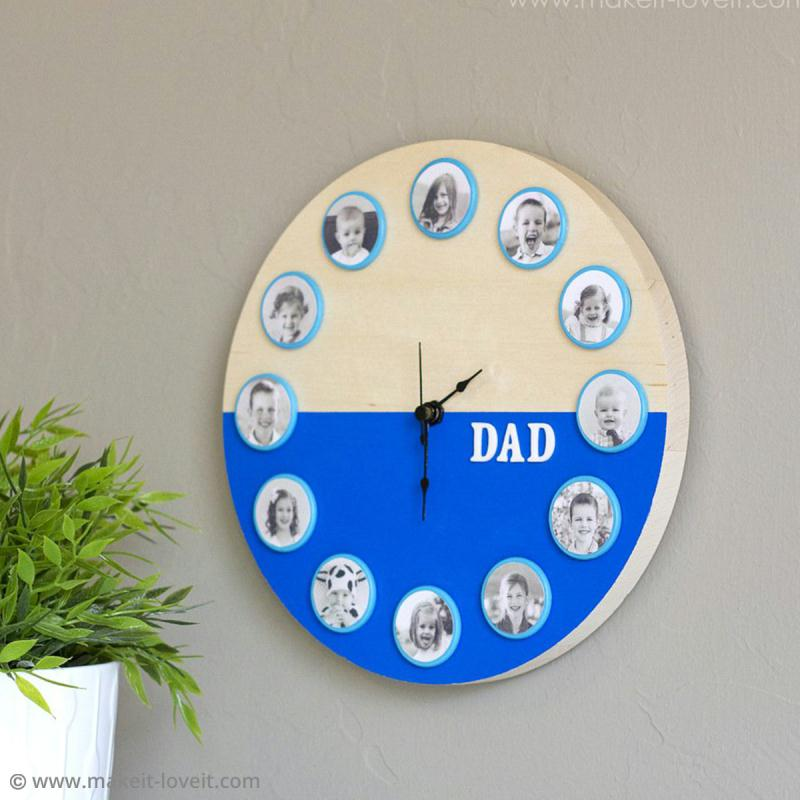 diy une horloge personnalis e pour la f te des p res. Black Bedroom Furniture Sets. Home Design Ideas