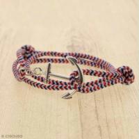 DIY Bracelet ancre bleu blanc rouge