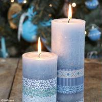 DIY Bougie décorée version Noël givré
