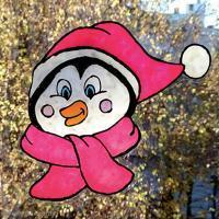 DIY Vitrophanie : Pingouin de Noël