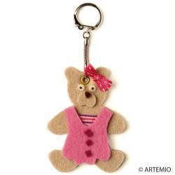 6. Porte-clefs en feutrine Maman Ourse beige