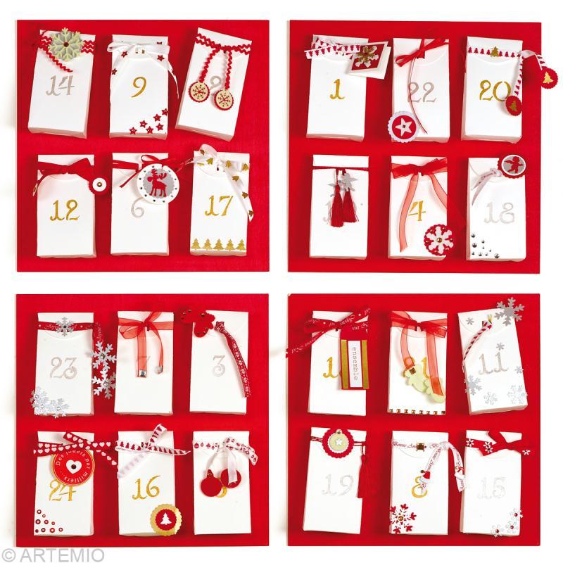 Bricolage calendrier de l 39 avent rouge et blanc id es et conseils calendrier de l 39 avent - Calendrier de l avent bricolage ...