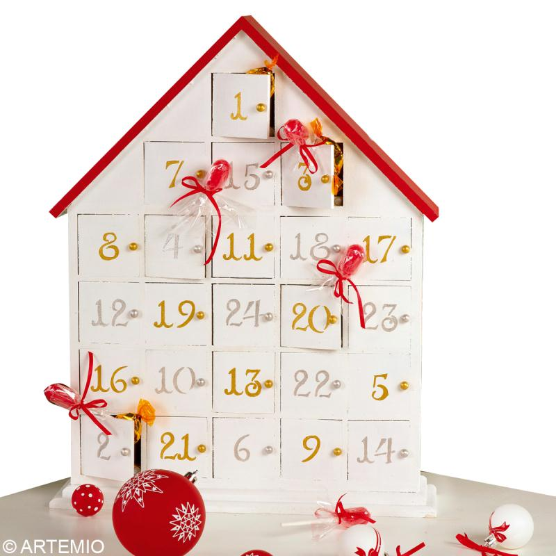 bricolage calendrier de l 39 avent rouge et blanc id es et. Black Bedroom Furniture Sets. Home Design Ideas