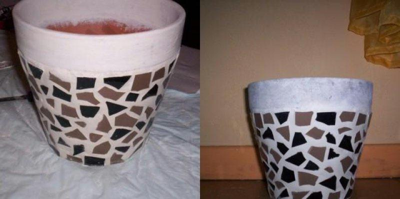 Pot de fleur en mosa que id es et conseils mosa que - Peindre un pot en plastique ...