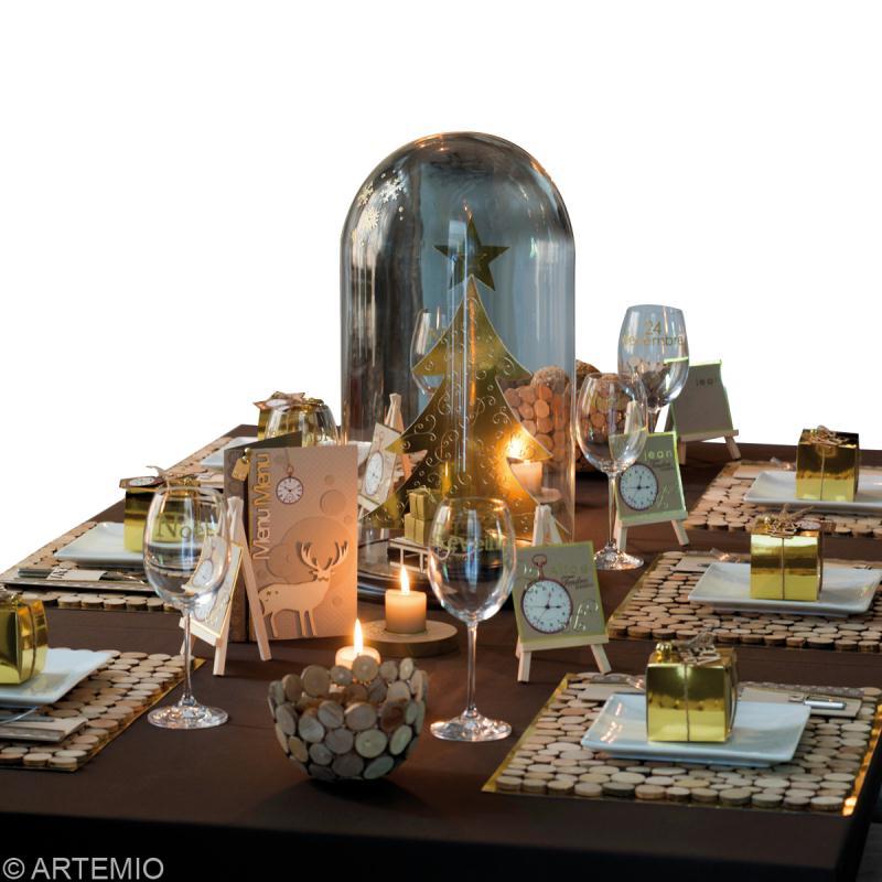 de table Noël  or et bois  Idées et conseils Décoration de table ~ Decoration De Table En Bois