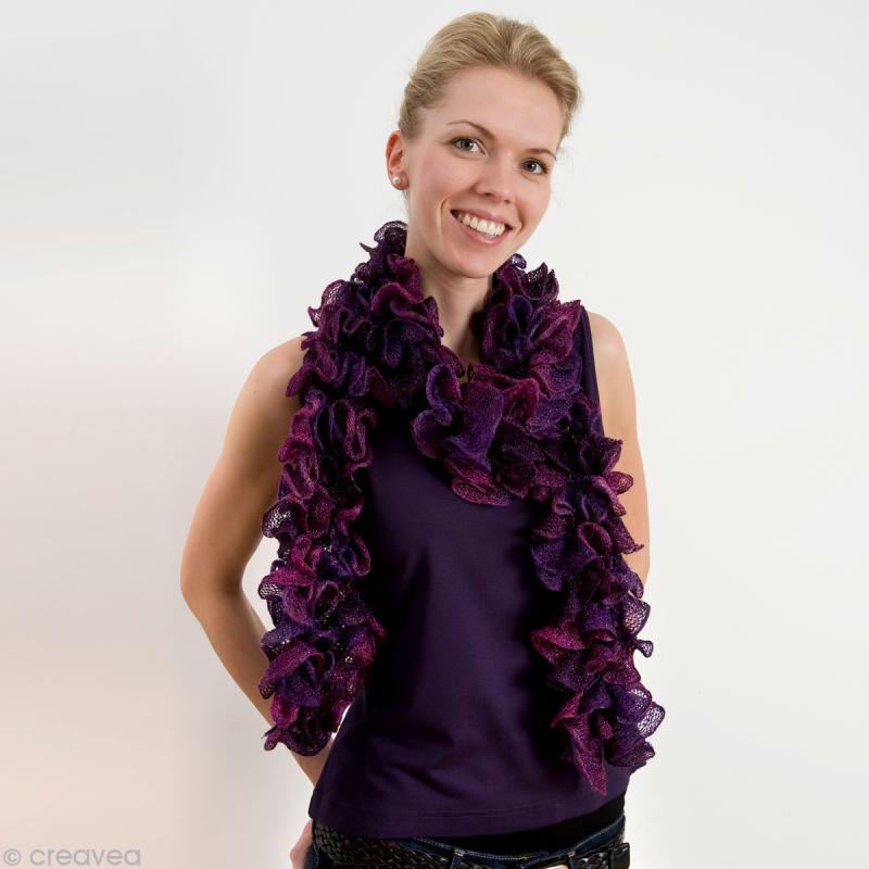 Fils à tricoter ruban et filet  écharpe filet tricotée