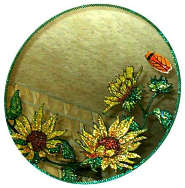 Miroir aux tournesols cr ations peinture sur porcelaine for Faux vitrail sur miroir