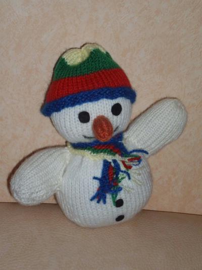 Bonhomme de neige en tricot.