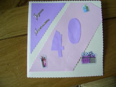 carte d 39 anniversaire 40 ans cr ation carterie faire part de melanie52. Black Bedroom Furniture Sets. Home Design Ideas