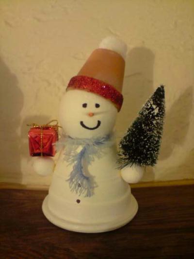 Bonhomme de neige cr ation personnage en pot de creat n 29 776 vue 10 158 fois - Bonhomme en pot de fleur ...