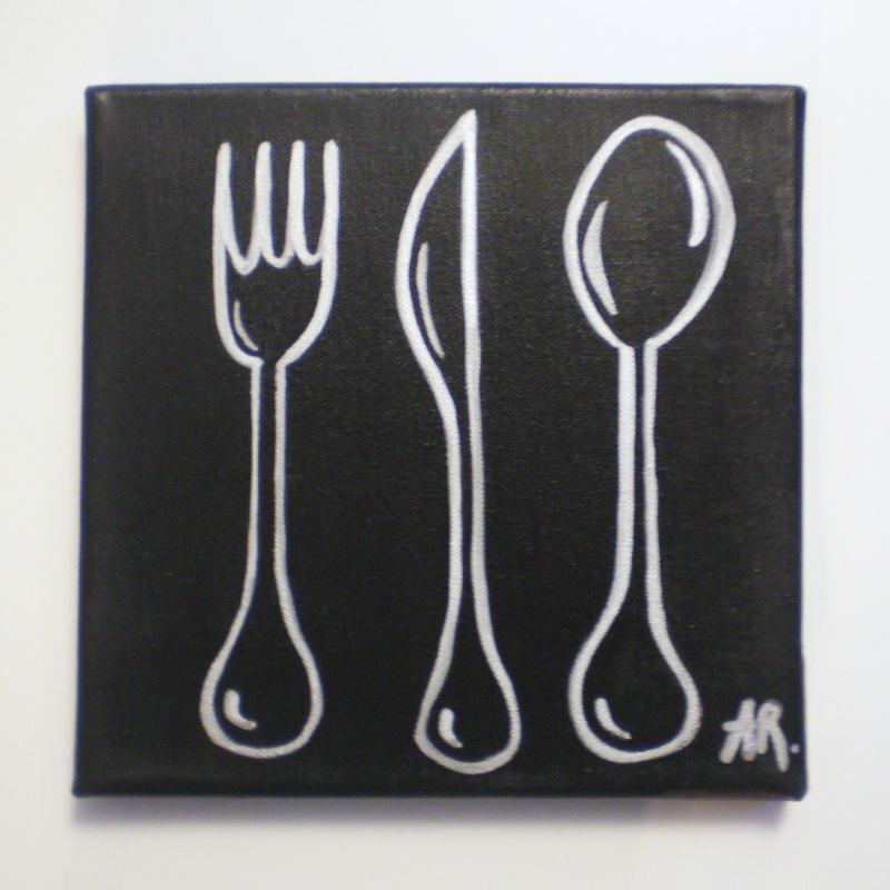 Tableau avec peinture acrylique d co cuisine silver cook for Peinture acrylique cuisine