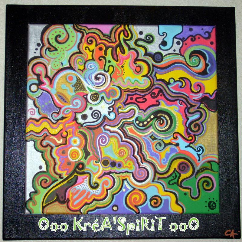 Tableau d co psych d lique avec peinture acrylique - Creation tableau photo ...