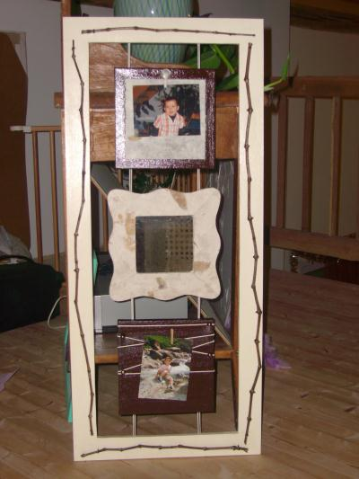 trois cadres en bois toile miroir et vigne cr ation. Black Bedroom Furniture Sets. Home Design Ideas