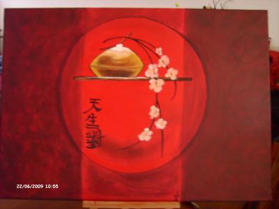 beaux arts peinture galerie creations japonaise sur toile rouge