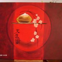 Peinture japonaise sur toile rouge