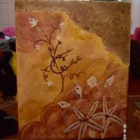 Peinture sur toile avec acrylique et sable de mer