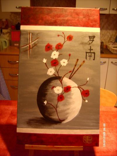 peinture sur toile avec acrylique fleur et boule chinoise. Black Bedroom Furniture Sets. Home Design Ideas