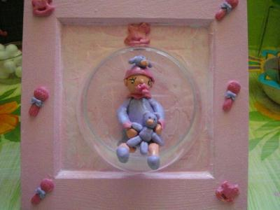 Bébé lilas en porcelaine froide bleue et rose