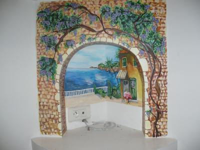 fresque paysage avec arche en pierre et glycine cr ation peinture multi supports de celine. Black Bedroom Furniture Sets. Home Design Ideas