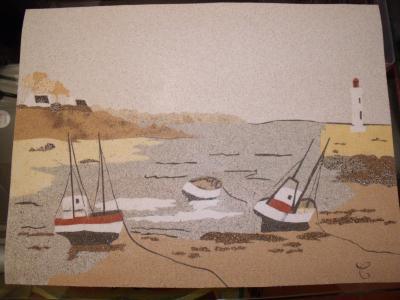 Tableau de sable sur le th me de la mer cr ation beaux for Tableau sur la mer