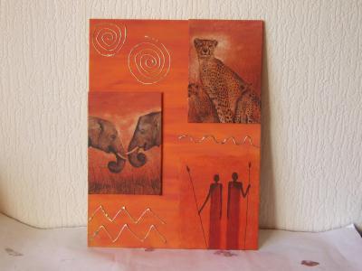 deco et miroir galerie creations tableau africain serviettage peinture acrylique sur toile