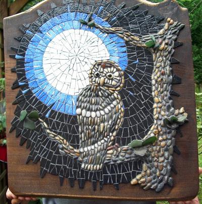 Chouette chouette en mosaique sur bois cr ation mosa que de pyromosaic n 31 659 vue 10 661 fois - Modele de creation en mosaique ...