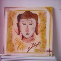 Jeune Boudha, peinture sur toile