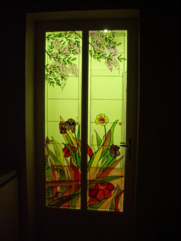 les roseaux en peinture vitrail cr ations peinture sur porcelaine et verre de. Black Bedroom Furniture Sets. Home Design Ideas
