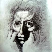 Un homme, dessin au crayon noir