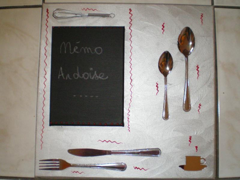 Memo ardoise de cuisine sur chassis argent cr ations - Ardoise memo cuisine ...
